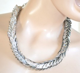 COLLANA donna girocollo argento foglie collarino ELEGANTE da cerimonia collar 760