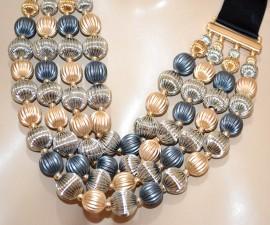 COLLANA girocollo donna nera multi maglia oro argento blu grigio cerimonia A11