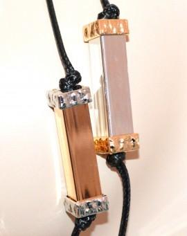 COLLANA LUNGA donna multifili neri ciondoli argento oro rosa dorati necklace G52