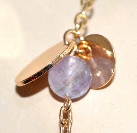 COLLANA LUNGA donna oro dorata pietre viola glicine verdi ciondoli catena long necklace GP10