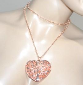COLLANA LUNGA girocollo ORO ROSA donna catenina ciondolo cuore san valentino G16