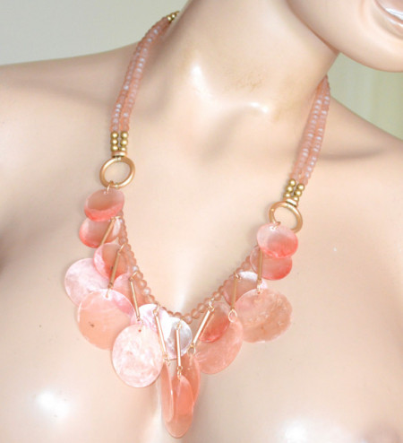 COLLANA ROSA CIPRIA donna girocollo ciondoli cerchi cristalli oro elegante pink necklace S92