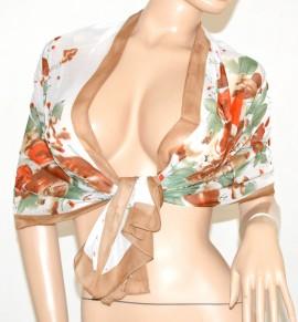FOULARD donna Stola MULTICOLORE coprispalle da cerimonia seta velata Elegante fantasia floreale 50X