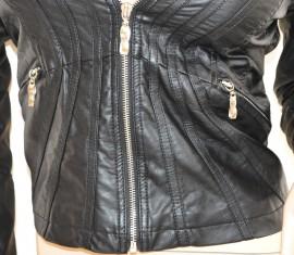 GIUBBINO donna NERO pelle giacca giacchino cuoio avvitato zip argento jacket H40