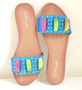 INFRADITO AZZURRI donna sandali ciabatte basse celesti turchesi oro scarpe  estive E55 254cedaa221