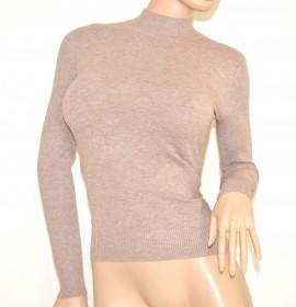 MAGLIETTA BEIGE TORTORA donna lupetto maglioncino manica lunga tinta unita maglia sottogiacca maglione lana Z45
