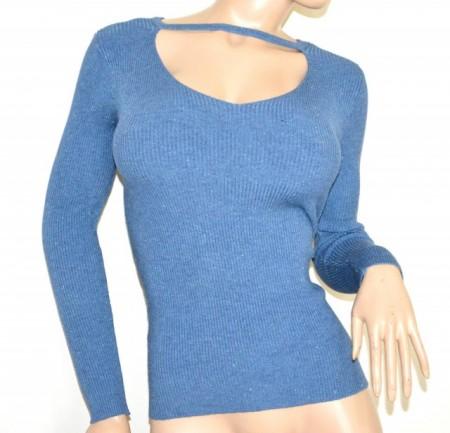 MAGLIETTA donna azzurra maglia manica lunga golfino pull sottogiacca costine G62