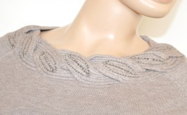 MAGLIETTA donna BEIGE TORTORA girocollo manica lunga maglia maglione sottogiacca strass chiodini Z15