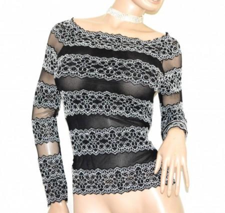 MAGLIETTA NERA BIANCA donna maglia pizzo ricamata manica lunga sottogiacca velata G62