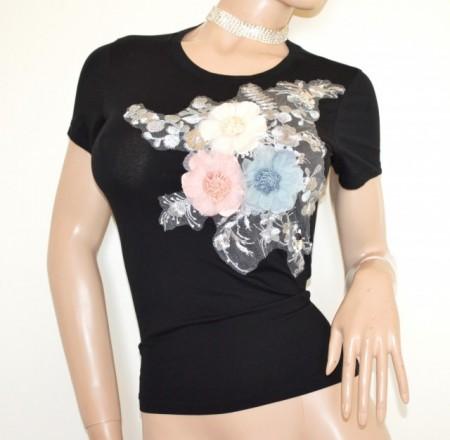 MAGLIETTA NERA donna t-shirt maglia mezza manica corta sottogiacca cotone B15