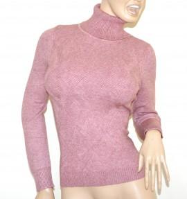 MAGLIONE ROSA donna collo alto maglia manica lunga pullover dolcevita rombi A35