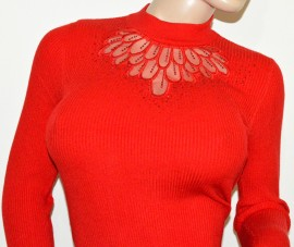 MAGLIONE rosso donna maxi pull maglietta manica lunga velato strass elegante G9