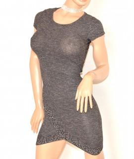 MINI ABITO GRIGIO vestito donna mezza manica corta viscosa elasticizzato E200