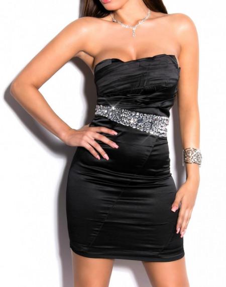 MINI ABITO NERO donna vestito tubino decolte strass cristalli elegante cerimonia dress A9