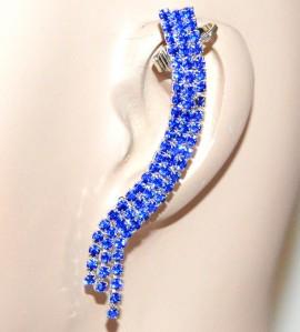 MONO ORECCHINO ARGENTO donna strass blu fili cristalli elegante bijoux idea regalo F285
