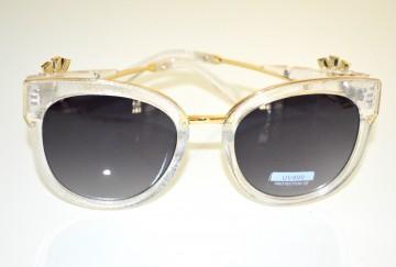 OCCHIALI da SOLE donna ARGENTO lenti aste trasparenti oro dorate strass cristalli BB2