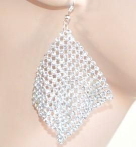 ORECCHINI ARGENTO donna cristalli pendenti STRASS brillantini boucles pendientes 1405