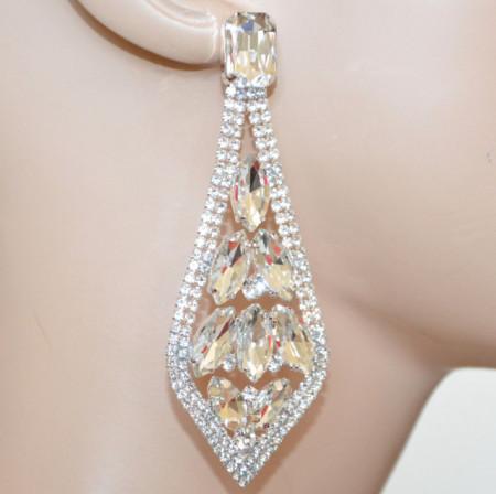 ORECCHINI ARGENTO donna cristalli strass pendenti gocce trasparenti sposa eleganti S4