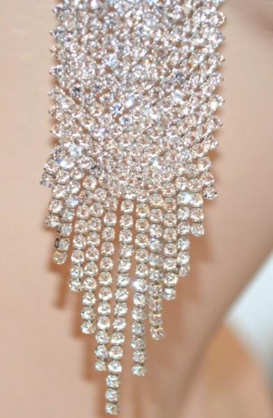 ORECCHINI ARGENTO donna pendenti lunghi fili strass cristalli sposa eleganti cerimonia BB3