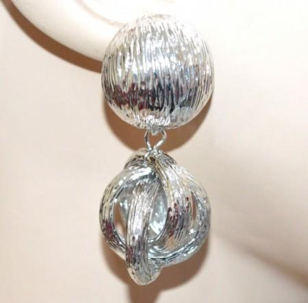 ORECCHINI donna ARGENTO pendenti cerchi anelli bombati metallo lucido серьги BB28