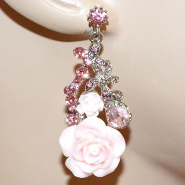 ORECCHINI donna argento ROSA CIPRIA pendenti fiori strass cristalli damigella BB6
