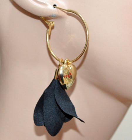 ORECCHINI donna cerchi oro dorato neri ciondolo cuore pendente gothic dark CC187