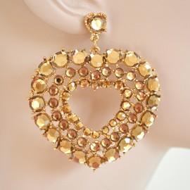 ORECCHINI donna oro CRISTALLI strass ambra pendente cuore heart girl pendants H10