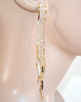 ORECCHINI donna ORO strass fili lunghi cristalli pendenti eleganti cerimonia F95