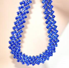 Orecchini donna pendenti goccia STRASS BLU cristalli ELEGANTI da cerimonia boucles 1075