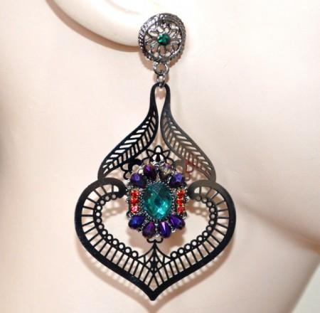 ORECCHINI grigio filigrana donna strass pietre cristalli rossi viola verde pendenti dark gothic BB44