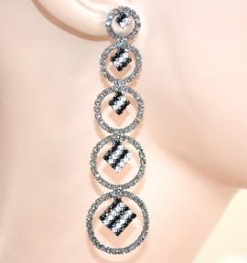 ORECCHINI GRIGIO NERI donna strass pendenti cerchi  cristalli eleganti cerimonia L15
