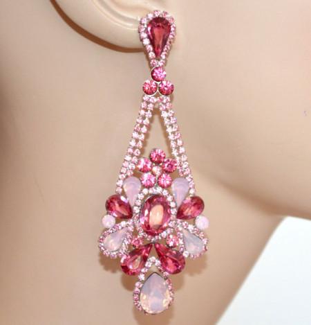 ORECCHINI ROSA CIPRIA FUCSIA donna Cristalli gocce Strass pendenti eleganti earrings N82