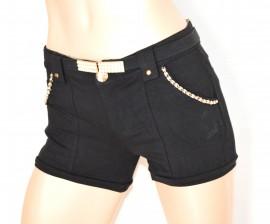 PANTALONE SHORTS NERO donna pantaloncino corto oro cotone cintura perle sexy F10