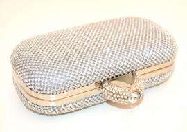POCHETTE ARGENTO CRISTALLI borsello donna STRASS borsa borsetta clutch ELEGANTE cerimonia E58
