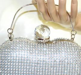 POCHETTE ARGENTO donna borsello cuore sposa strass clutch borsetta cristallo G50