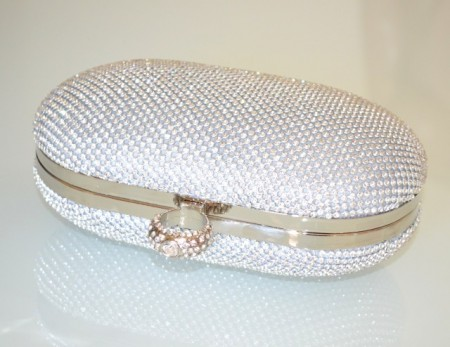 POCHETTE ARGENTO donna strass borsello clutch bag cristalli borsa cerimonia sposa bolsa B2