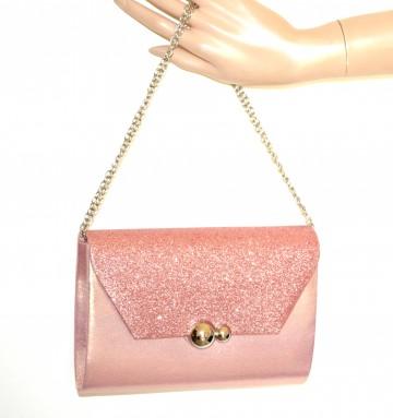 POCHETTE ROSA borsello donna borsa shimmer brillantini borsetta damigella G60