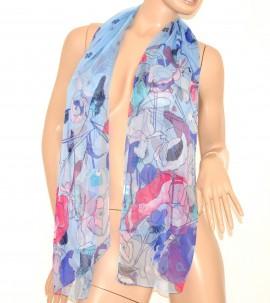 STOLA donna FOULARD SETA fantasia coprispalle trasparente elegante multicolore VELATO x abito da cerimonia scarf 160