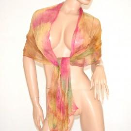 STOLA donna Rosa Oro foulard SCIARPA elegante coprispalle x CERIMONIA scarf 700E