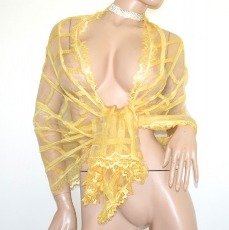 STOLA GIALLA maxi foulard donna sciarpa velata coprispalle trasparente scialle ricamato elegante scarf G72