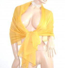 STOLA MAXI donna elegante GIALLO ORO foulard 50% seta velata trasparente maxi coprispalle cerimonia H5