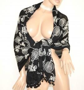 STOLA NERA BIANCA donna viscosa scialle coprispalle elegante abito da sera festa cerimonia Z6