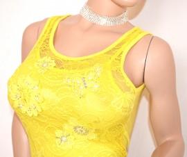 TOP CANOTTA donna GIALLA maglia giromanica pizzo ricamato strass sottogiacca elegante E160