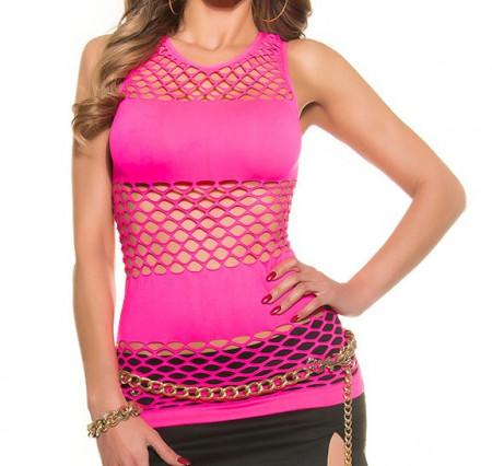 TOP ROSA FUCSIA donna canotta rete giromanica maglia copricostume t-shirt sport sexy AZ65
