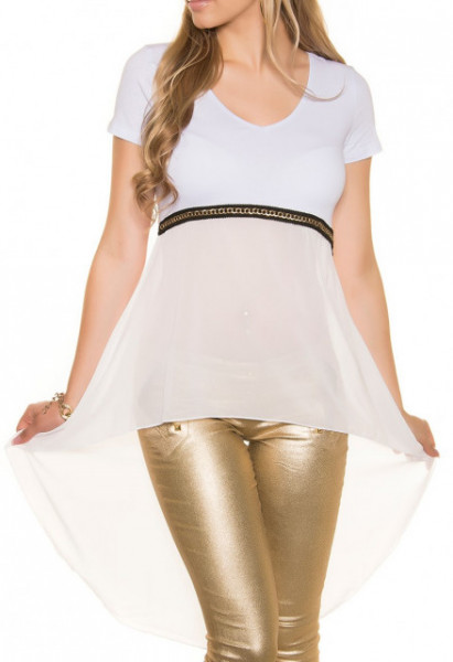 TOP T-SHIRT donna BIANCA maglia velata manica corta elegante maglietta velo cerimonia AZ55