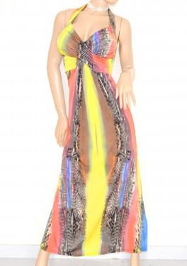 VESTITO ABITO LUNGO donna colorato incrociato schiena nuda elegante party cerimonia 55XR