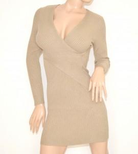 6f2fc1f94749 ABITO BEIGE vestito maxi pull maglione donna lana maniche lunghe sexy scollo  V dress R6