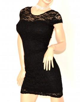 ABITO donna NERO elegante manica corta vestito pizzo ricamato sexy da cerimonia da sera E105