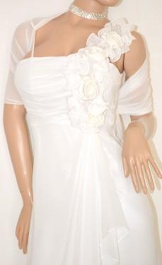 ABITO LUNGO donna BIANCO elegante VESTITO SETA + STOLA velata perle cerimonia dress 20X