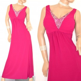 faeba9283edf ABITO LUNGO donna elegante vestito ROSA FUCSIA VIOLA cristalli STRASS da  cerimonia party robe 10X